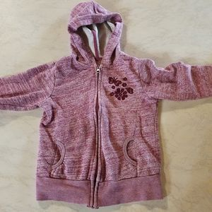 Size 6 Purple hooded jacket, embroidered flower